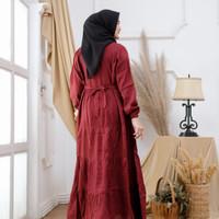 Baju Gamis Wanita Rempel Susun Polos Katun Premium - maron