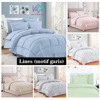 Bedcover Set Katun Motif Pink Line Size Single   Bed Cover   Bad Cover