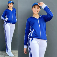 Baju Senam Setelan Lapangan Adidas Biru Putih Aerobik Hijab Muslim