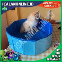 Bak mandi hewan peliharaan/Kolam Renang Lipat Untuk Anjing Kucing - Biru, 60 x 20 cm