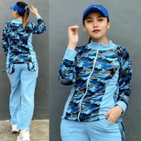 Baju Senam Aerobic Setelan Olahraga Panjang Hijab Army Block Biru
