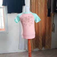 baju anak wanita pink motif Merk Justice LD54 panjang 40