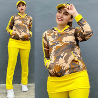 Set Baju Senam Army Loreng Kuning Baju Zumba Aerobic Olahraga Panjang