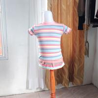 baju anak wanita pink garis merk justice LD52 panjang 40