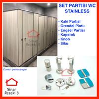 SET Kaki Partisi WC STAINLESS / Engsel Toilet Cubical Ambalan Penyekat