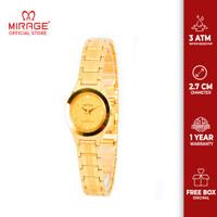 Jam Tangan Wanita Kecil Tipis Imut Mirage 7032L Full Gold Mewah