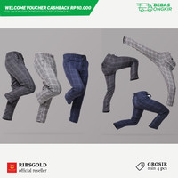 Celana Panjang Ribsgold Tartan Vozy Ankle Pants (GROSIR MIN 4 PCS)