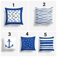 Cover/Sarung Bantal Sofa - Navy / Seri Laut / Pantai Ukuran 40x40 cm