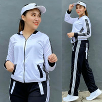 Setelan Baju Senam Lapangan Adidas Hitam Putih Zumba Aerobik Hijab
