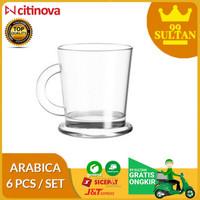 GELAS ARABICA 6 PCS - Gelas Kopi Kaca /Gelas Cafe /Cangkir Kopi Minum
