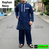 Setelan Baju dan Celana Koko Pakistan - Kurta Pakistan Gamis Pria - Rayhan Navy, L