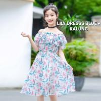 BAJUKIDDIE LILY DRESS BLUE BAJU TERUSAN SABRINA ANAK PEREMPUAN IMPOR - blue, 160