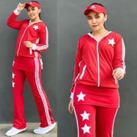 Setelan Baju Senam Lapangan Rok Merah Putih Zumba Aerobik Hijab Muslim