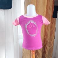 baju atasan anak cewek merk justice ungu pink LD52 panjang 38
