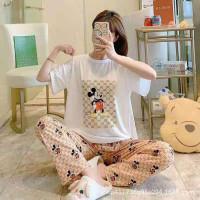Baju tidur wanita set / piyama wanita set import spandex motif kartun