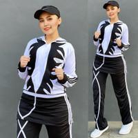 Baju Senam Aerobik Setelan Olahraga Panjang Hijab Rok Api Putih Hitam