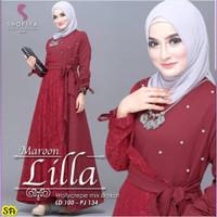LILLA MAXI DRESS MIX BRUKAT/ DRESS MURAH/BAJU HIJAB MURAH/GROSIR - MAROON, All Size