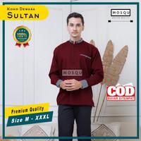 Baju Koko Pria Lengan Panjang Termurah 2021 Koko Sultan Bahan Toyobo - Marun-Abu, S