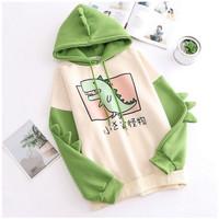 Sweater Anak Hoodie Anak Perempuan Laki laki CUTE GREEN DINOSAURUS