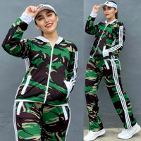 Baju Senam Aerobic Setelan Lapangan Olahraga Army Panjang List Putih