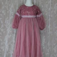 Gaun muslim anak renda Gamis anak Dress muslim anak Baju pesta anak - dusty, 3-4 tahun