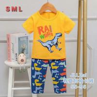 Setelan baju tidur anak laki-laki / piyama anak import dino - Kuning, 65