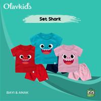 Setelan Kaos Baby Shark B Bayi Anak Bahan Katun Combed 30s - Turkish Navy, Size 1