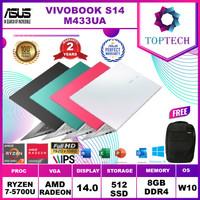 ASUS VIVOBOOK S14 M433UA RYZEN 7 5700 8GB 512ssd 14.0FHD IPS W10+OHS