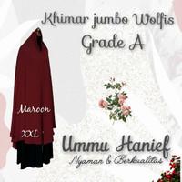 khimar Jumbo Premium bahan wolfis grade A Dengan pad busa/syria/antem
