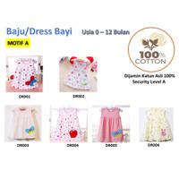 Baju/Dress bayi Perempuan 0-6 Bulan Katun 100% Import Motif A
