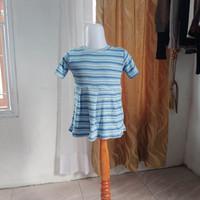 baju anak wanita biru garis merk Justice LD54 panjang 43
