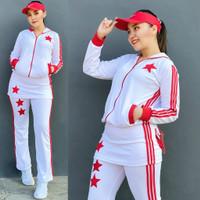 Setelan Baju Senam Lapangan Rok Putih Merah Zumba Aerobik Hijab Muslim