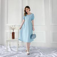 Azka Cotton Plain Dress Midi Wanita Casual Lengan Karet