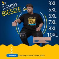 Kaos Big Size Pria Original Jumbo Polos Motif 5XL 6XL 7XL 8XL LD 148cm