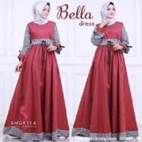 BELLA DRESS/DRESS MURAH/BAJU HIJAB MURAH 2.7 - MAROON, All Size