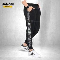 Celana Joger Training Olahraga Panjang Pria Hitam Lis Army Abu - M/L (One Size)