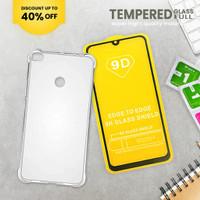 tempered glass hp vivo y91 full/tg full 9d bonus anticrack case murah