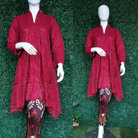 ATASAN Tunik Kartini Brokat/kebaya tradisional/ kutu baru - Marun, M