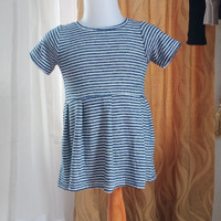 baju anak wanita Biru garis2 merk Justice LD48 panjang 42