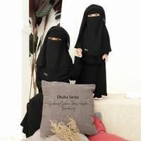 Niqab Cadar Anak Long Yaman 2 Layer Kids Siffon Silky Jetblack