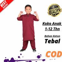 Baju Koko muslim Anak Laki Laki Terbaru Murah Terjangkau Branded - Merah, 1-2 th