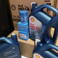 Oli mesin shell helix HX7 5W-40 4liter paket filter oli mobilio brio
