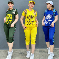 Set Setelan Baju Senam Aerobic Zumba Olahraga Pendek Army Kombinasi