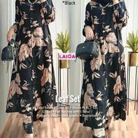 Leaf Set Setelan Celana Wanita Pajamas Rayon Baju Hangout Modis Casual
