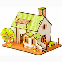 Puzzle Simulation Model - Wooden Puzzle Green Apple House Puzzle Kayu