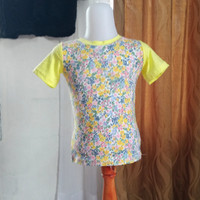 baju anak wanita kuning motif merk justice LD54 panjang 37