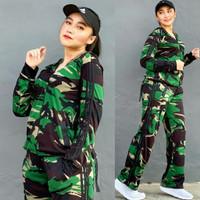 Setelan Baju Senam Lapangan Army Panjang Zumba Hijab Aerobik Muslimah