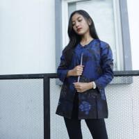 bluse balero fashion batik - Biru, all size
