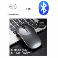 Mouse Apple Bluetooh Wireless Recharger Micro Baterai Habis di cas - Gray