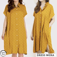 Baju Atasan Wanita Midi Dress Mona Full Kancing Big Size ARS 19941